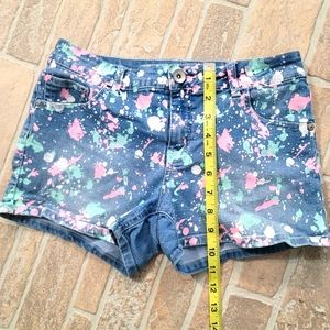 Justice Paint Spattered Jean Shorts